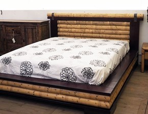 LETTO INDO CRASH BAMBU ' BORDEAUX CON RIBALTONE