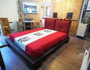 LETTO Letto matrimonaile zen japan in legno e crash bambu black Outlet etnico a PREZZI OUTLET