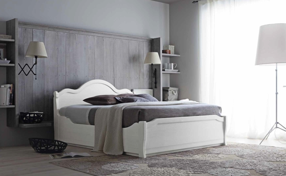Letto matrimoniale contenitore tabia in massello letti a for Camere da letto in legno prezzi