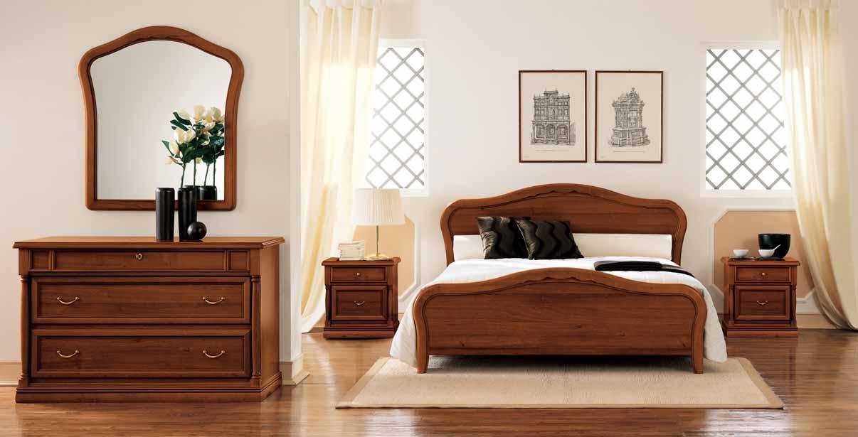 Letto matrimoniale e comodini in legno modello viola - Letto matrimoniale legno ...