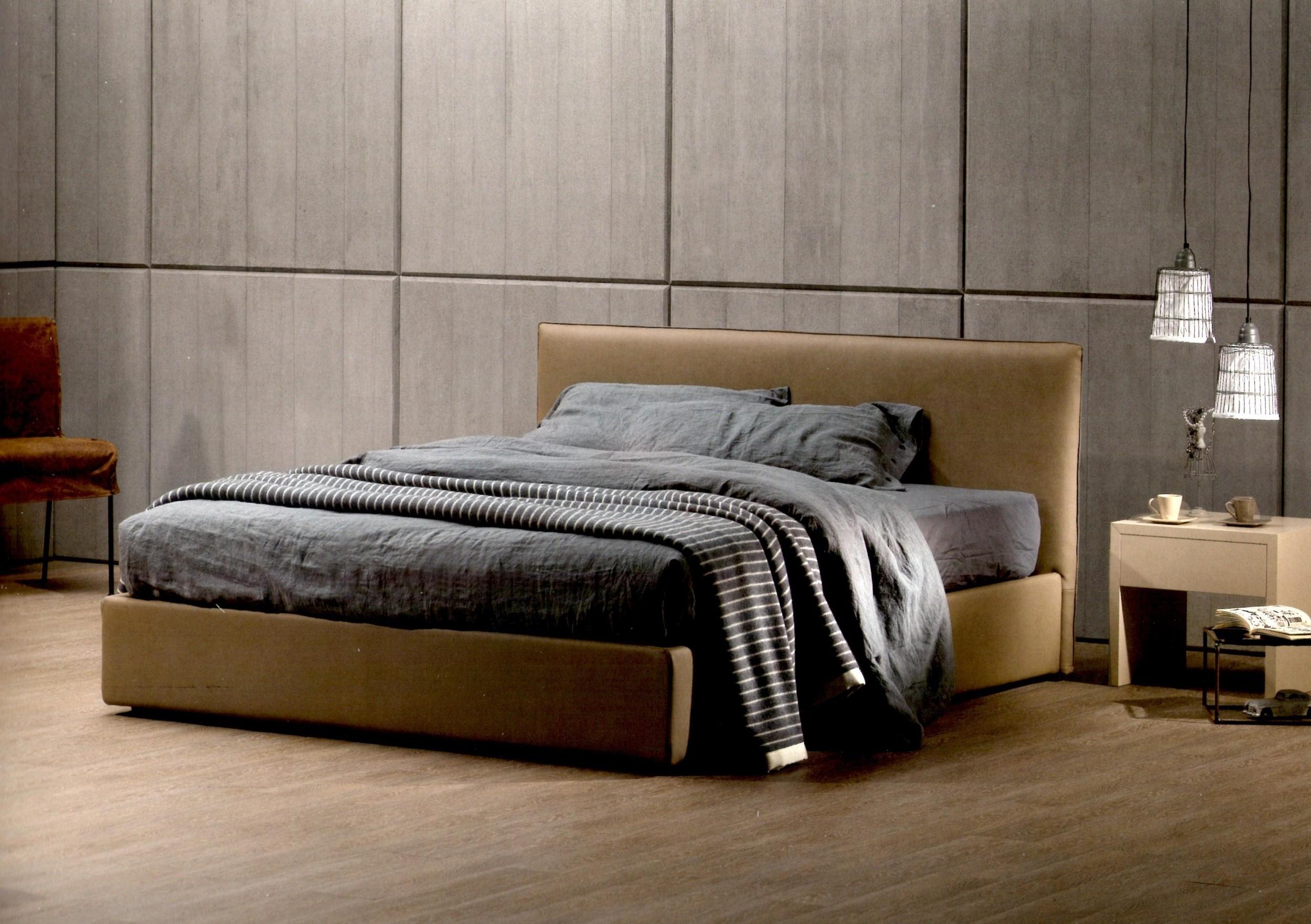 letto moderno imbottito con contenitore di exco modello