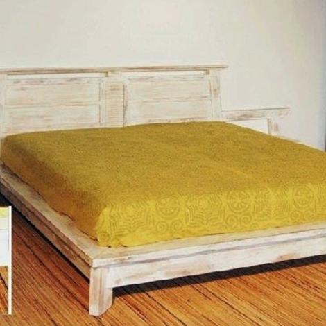 Letto moderno in legno di teak decapato bianco letti a prezzi scontati - Letto in legno bianco ...