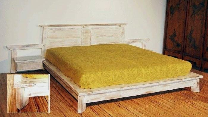 Letto moderno in legno di teak decapato bianco letti a - Letto in legno bianco ...