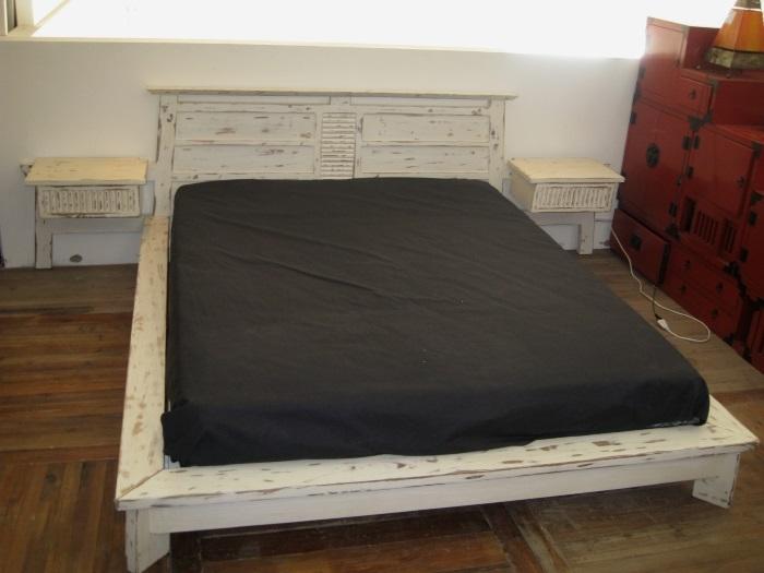 Letto moderno new in legno di teak decapato bianco letti - Letto moderno legno ...