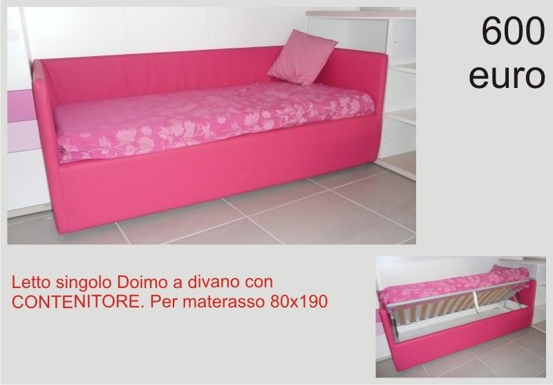 Letto singolo imbottito contenitore possibile utilizzo a divano doimo letti a prezzi scontati - Divano letto singolo con contenitore ...