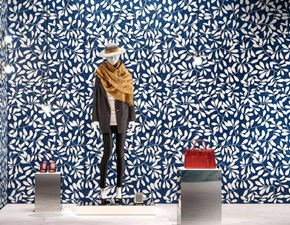Pavimento in ceramica Kerlite leaves blue wonderwall di Cotto d`este a prezzi outlet