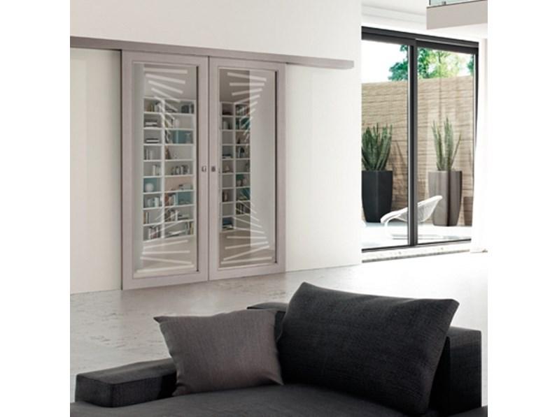 Porta a vetro unico scorrevole fly scorrevole esterno muro - Porta scorrevole vetro offerta ...