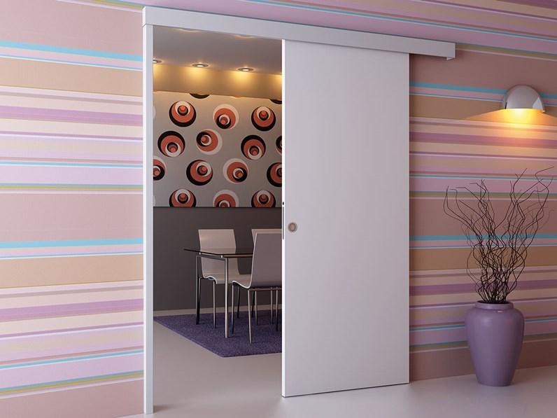 Porta scorrevole asterno muro bianca su misura - Porta scorrevole su misura ...