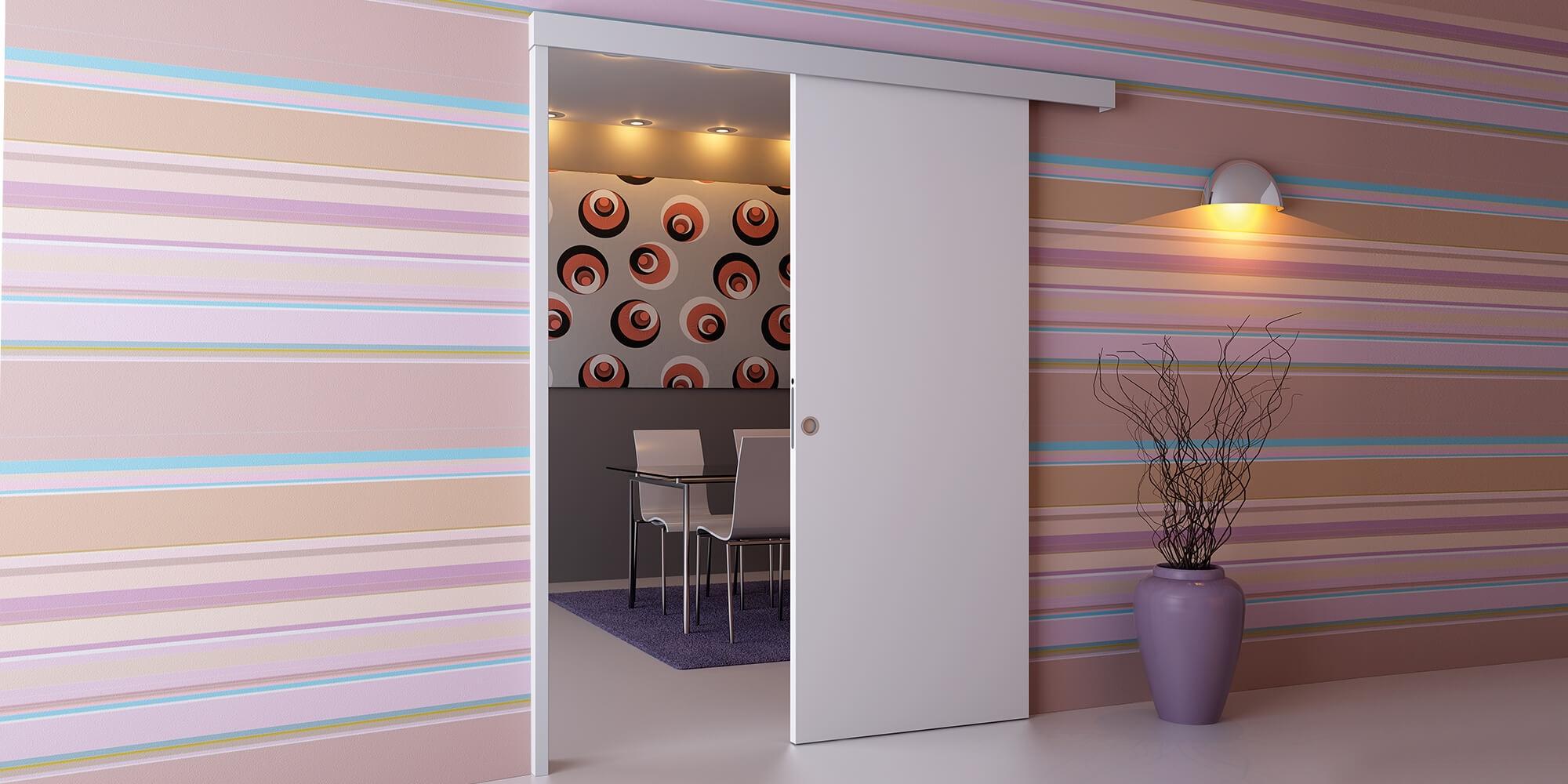 Porta scorrevole asterno muro bianca su misura porte a - Porta scorrevole su misura ...