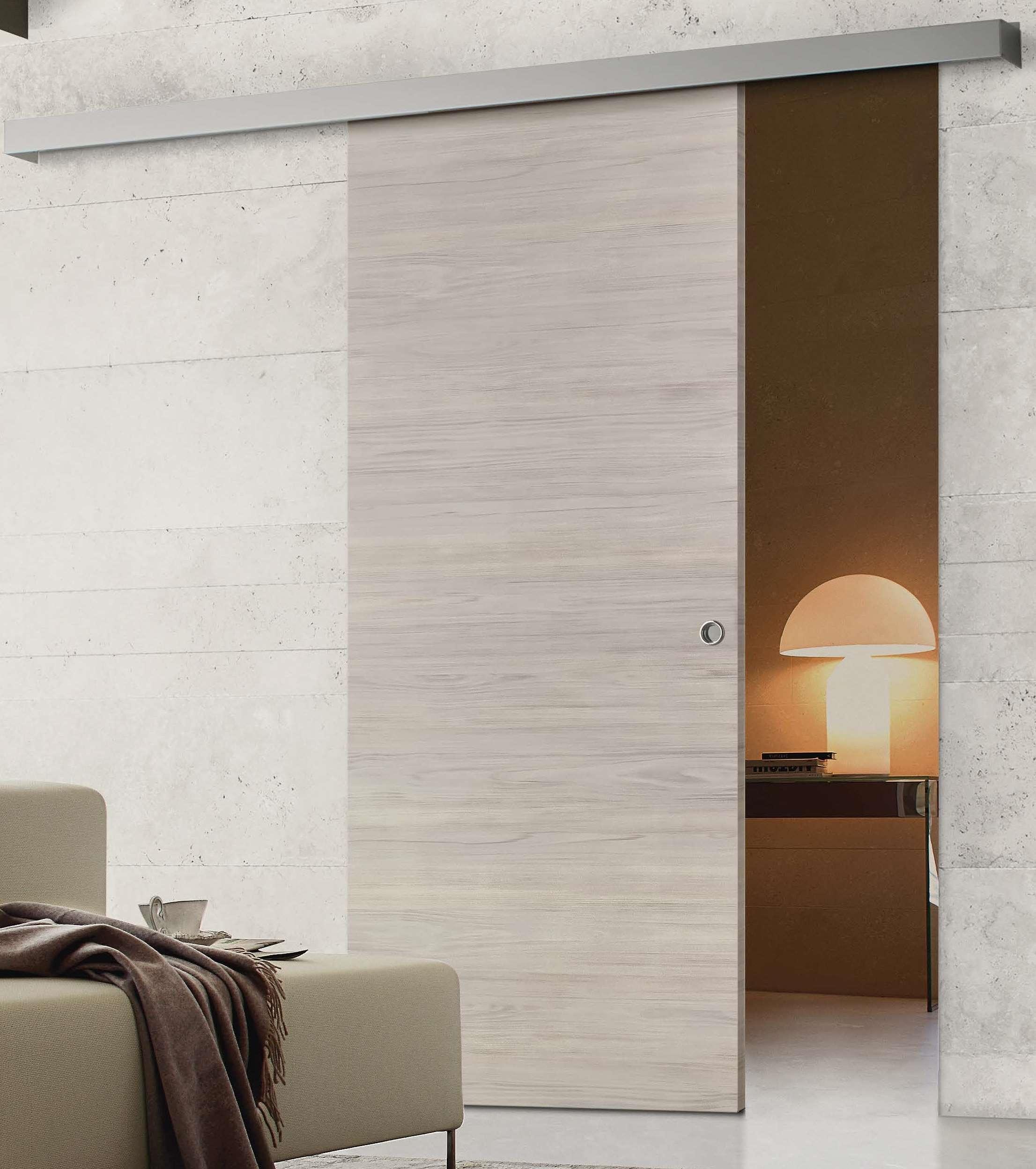 Porta scorrevole asterno muro bianca su misura porte a - Porta scorrevole esterna muro ...