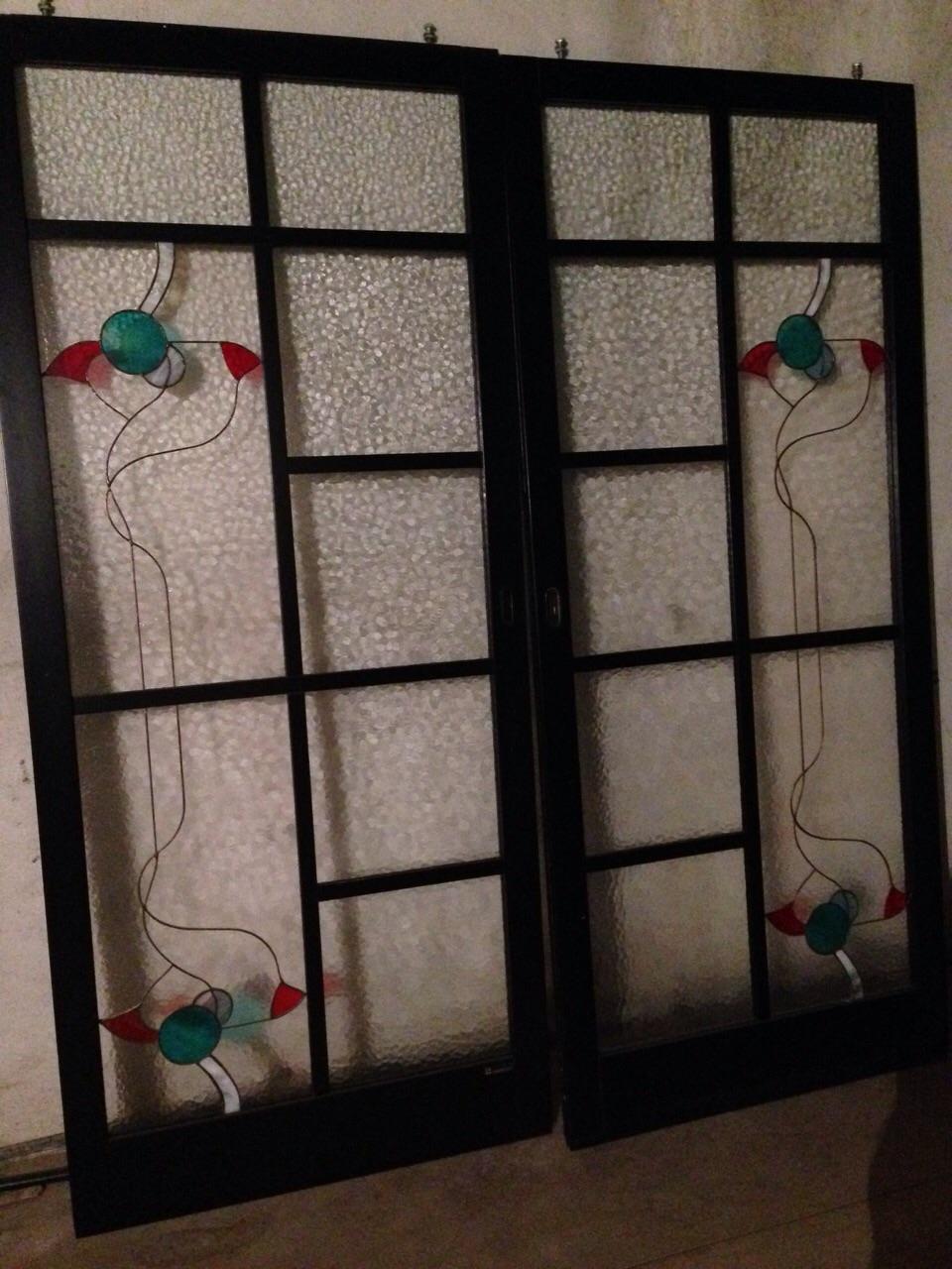 Porte scorrevoli vetro temperato e legno laccato nero - Porta a vetri scorrevole prezzi ...