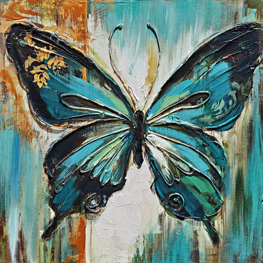 Quadri Con Ortensie : Coppia di quadri con soggetto farfalla colorati
