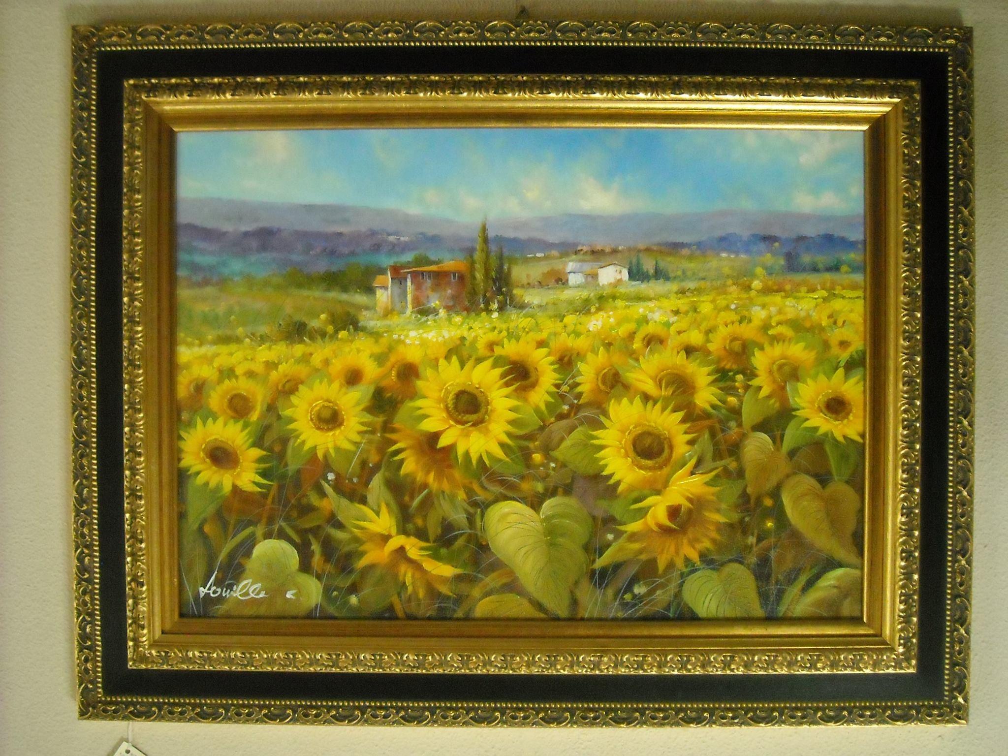 Dipinto olio su tela \'Campo di girasoli\' con cornice in offerta al ...