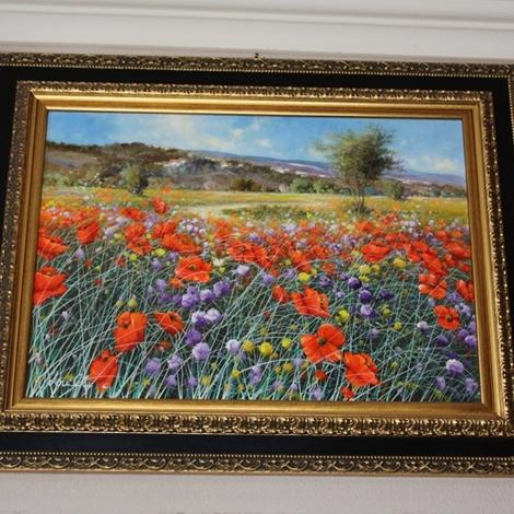 Dipinto olio su tela 39 prati d 39 estate 39 con cornice in for Quadri moderni in offerta