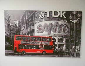 Quadro in pelle stampata Manie soggetto London Bus scontato del 30%