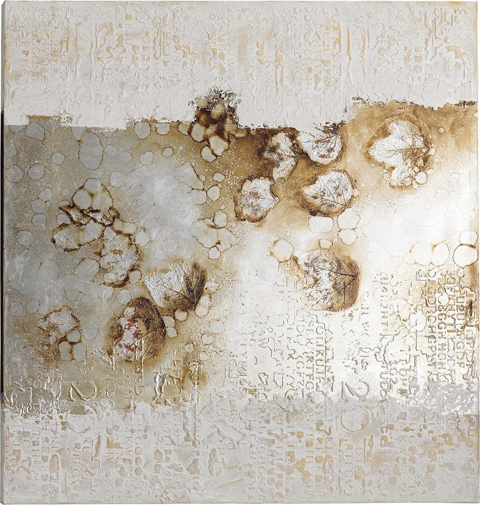 Quadro moderno olio su tela foglie naturi di stones for Quadri a olio moderni