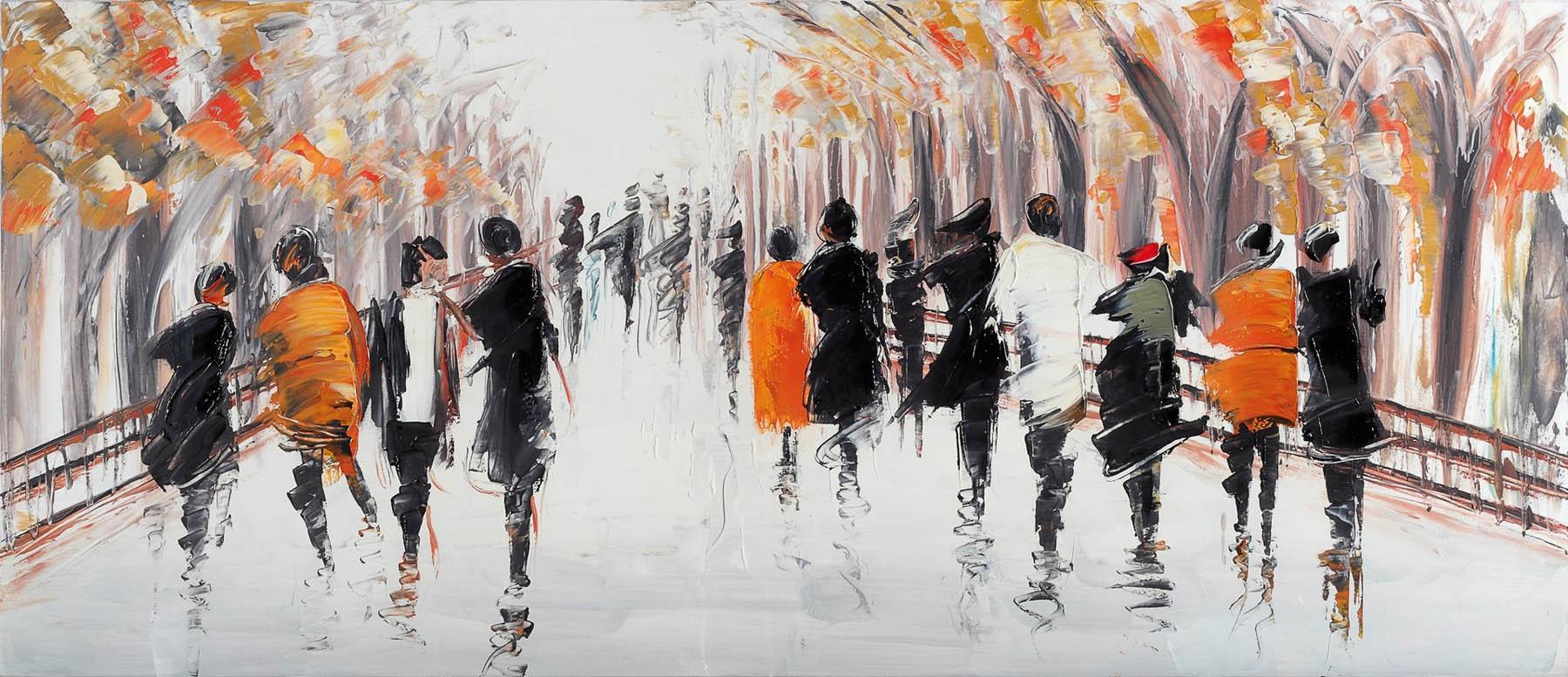 Quadro astratto con persone dipinto a mano di dimensioni for Quadri grandi dimensioni arredamento
