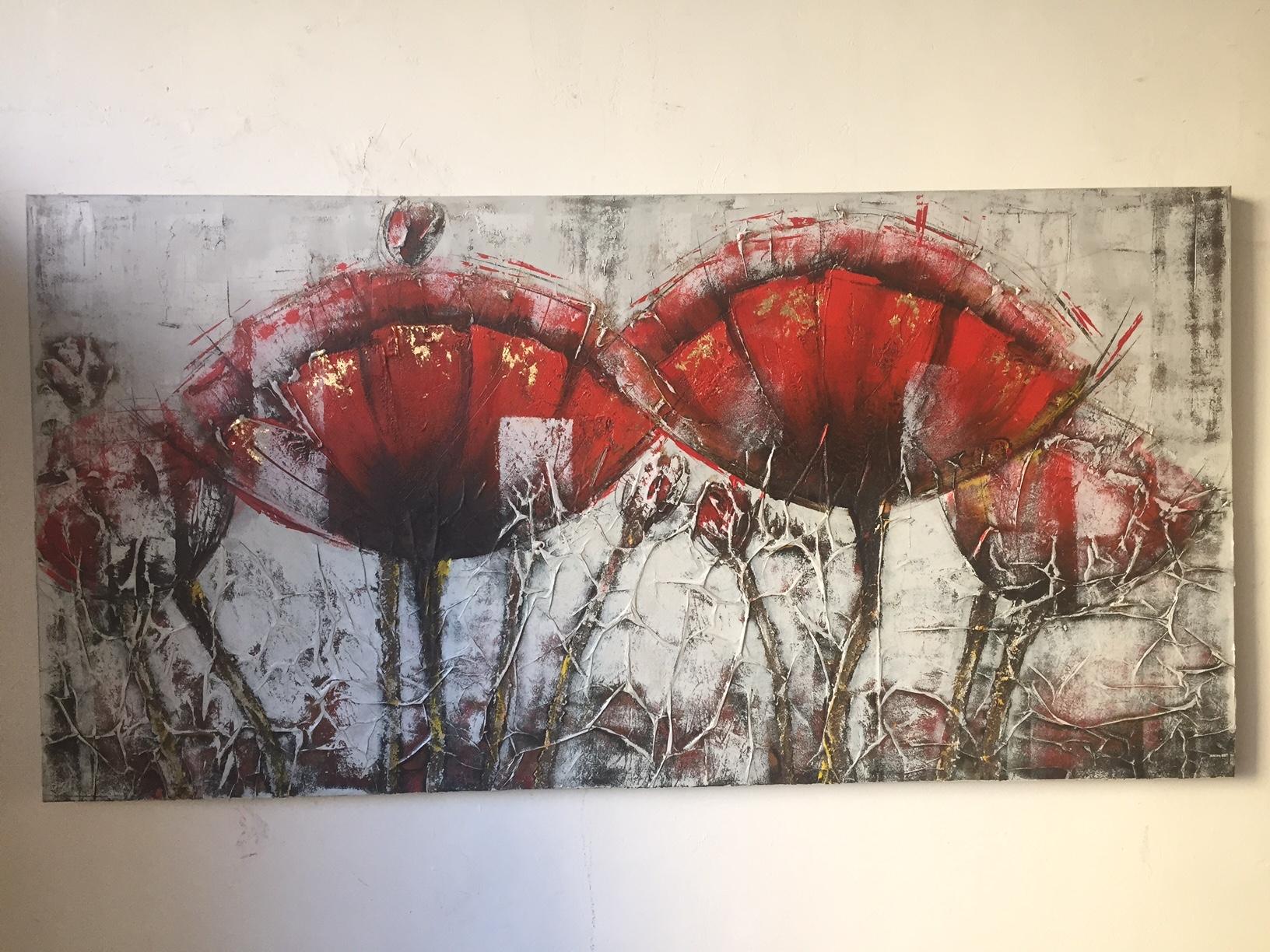 Quadro astratto fiori papaveri rossi quadri moderni a for Quadri astratti rossi