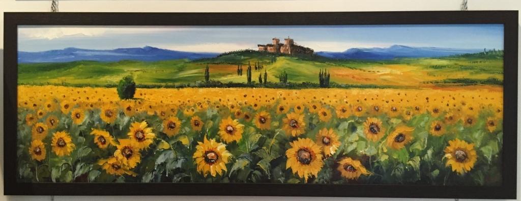 Quadro materico ad olio con paesaggio di girasoli quadri for Quadri ad olio con fiori