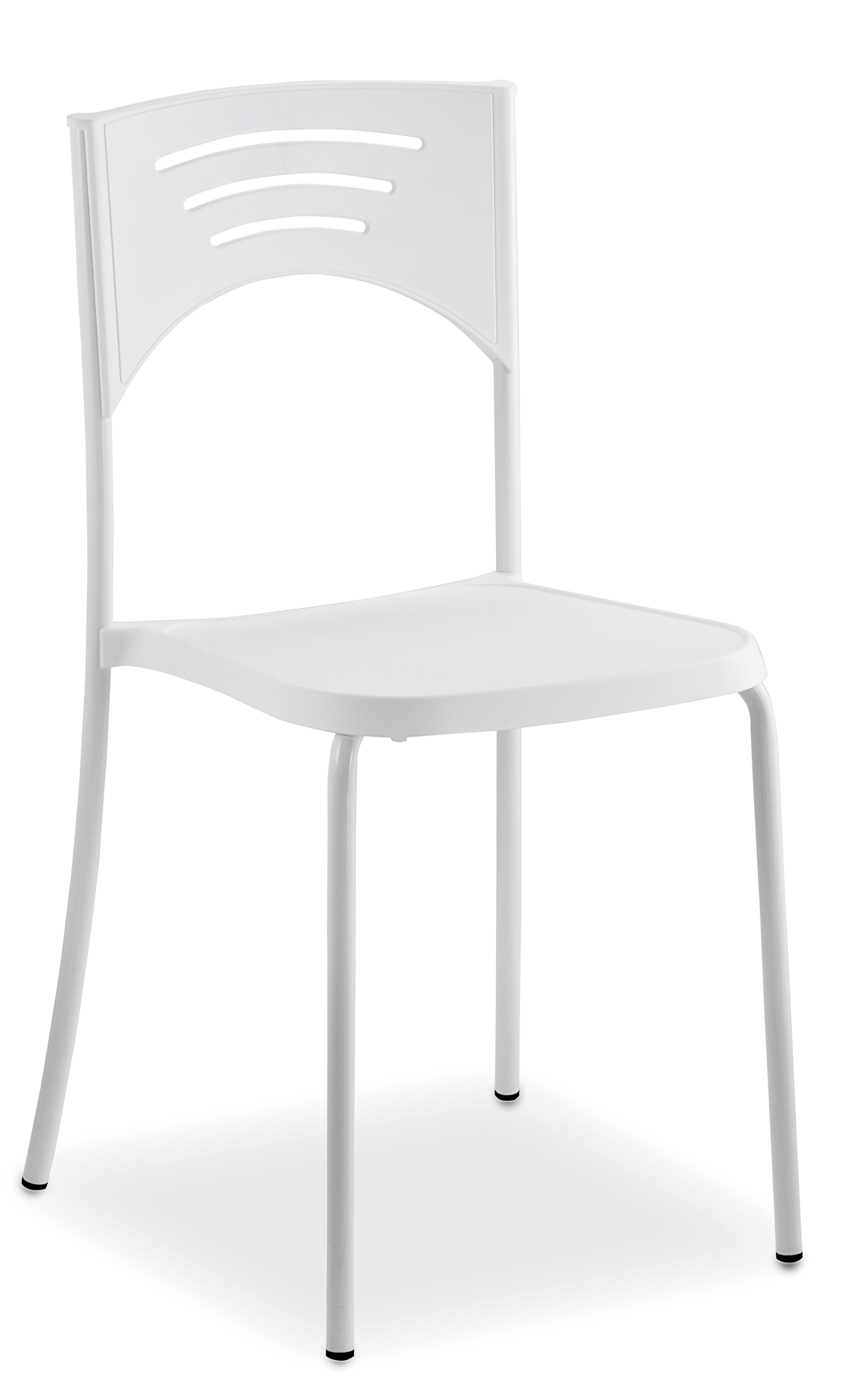 Sedia bianca in plastica e metallo impilabile linus for Sedia plastica bianca
