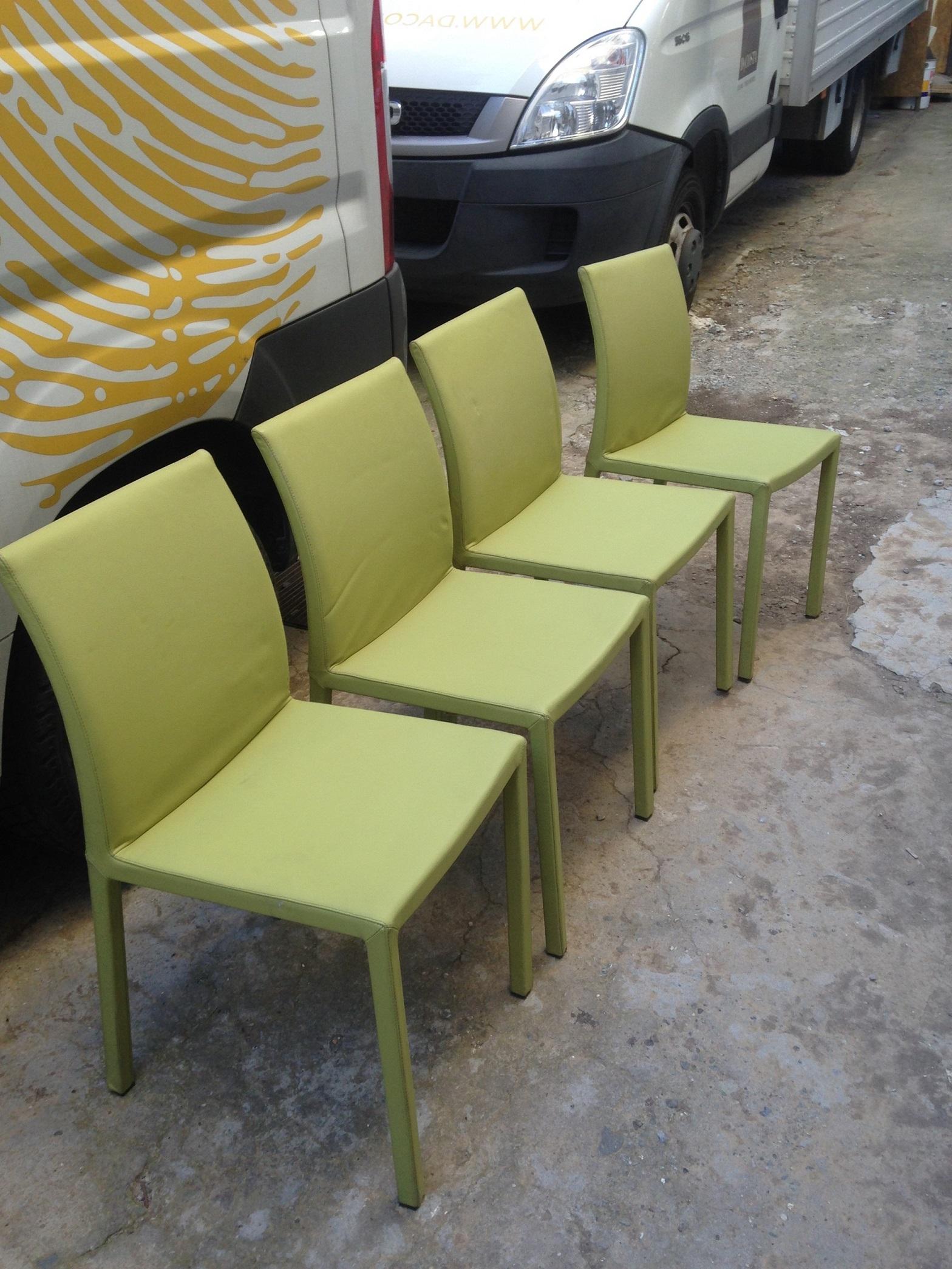 4 sedie ditta bonaldo modello marta in pelle verde sedie for Sedie in pelle prezzi