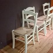 4 sedie Parlani in legno massello color avorio