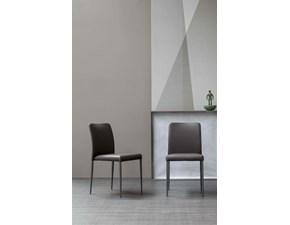 Bonaldo sedia Deli ecopelle grigio antracite