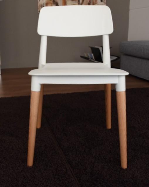 Offerta sedia elios piedi in legno seduta in plastica for Sedia plastica bianca