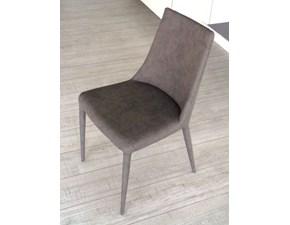 Ozzio Sedia  4 sedie aperol imbottita e rivestita ecopelle nabuk rigio easyline di  ozzio scontato del -48 %