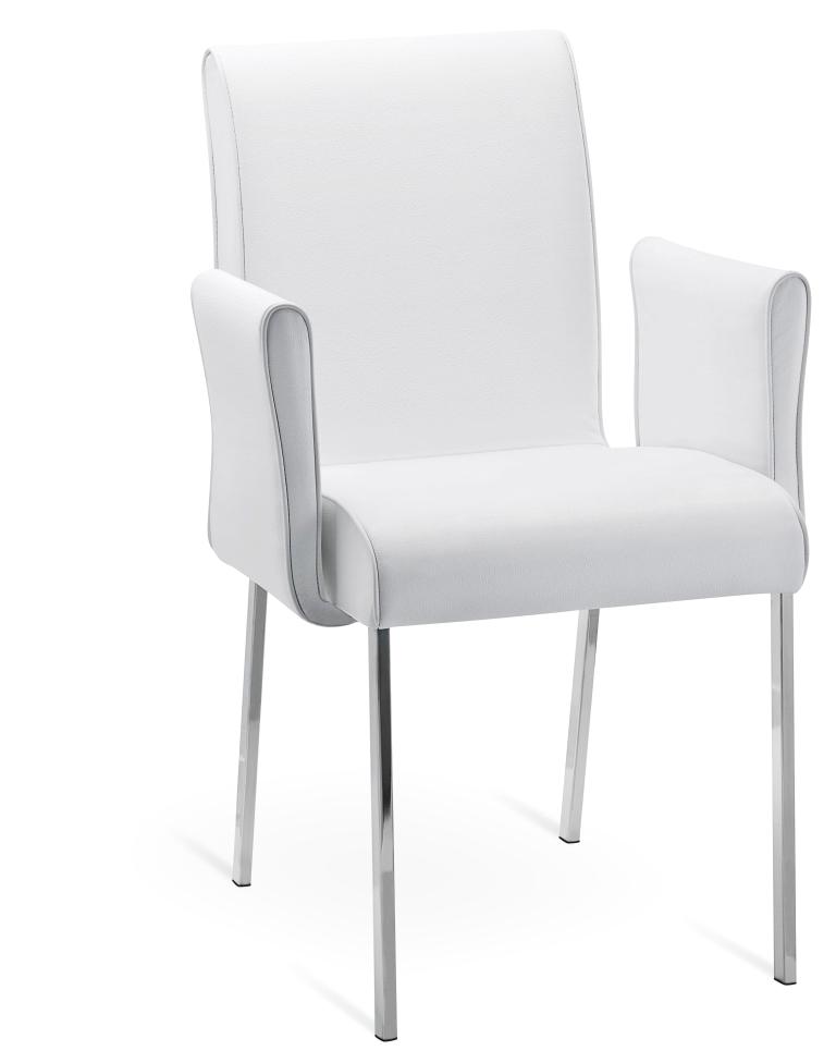 Poltroncina con braccioli in metallo effetto pelle bianca o nera zeus sedie a prezzi scontati for Placcaggio cucina moderna