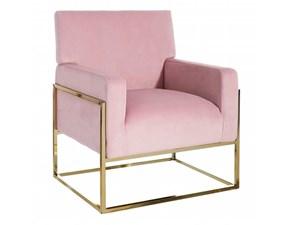 Sedia con braccioli Poltrona in velluto rosa Ixia a prezzo scontato