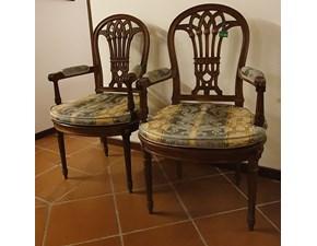 Sedia con braccioli Poltroncina paglia di vienna  Artigianale in Offerta Outlet