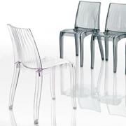 Sedia Eurosedia modello Ondina. Sedia moderna con la struttura e la seduta in policarbonato trasparente.