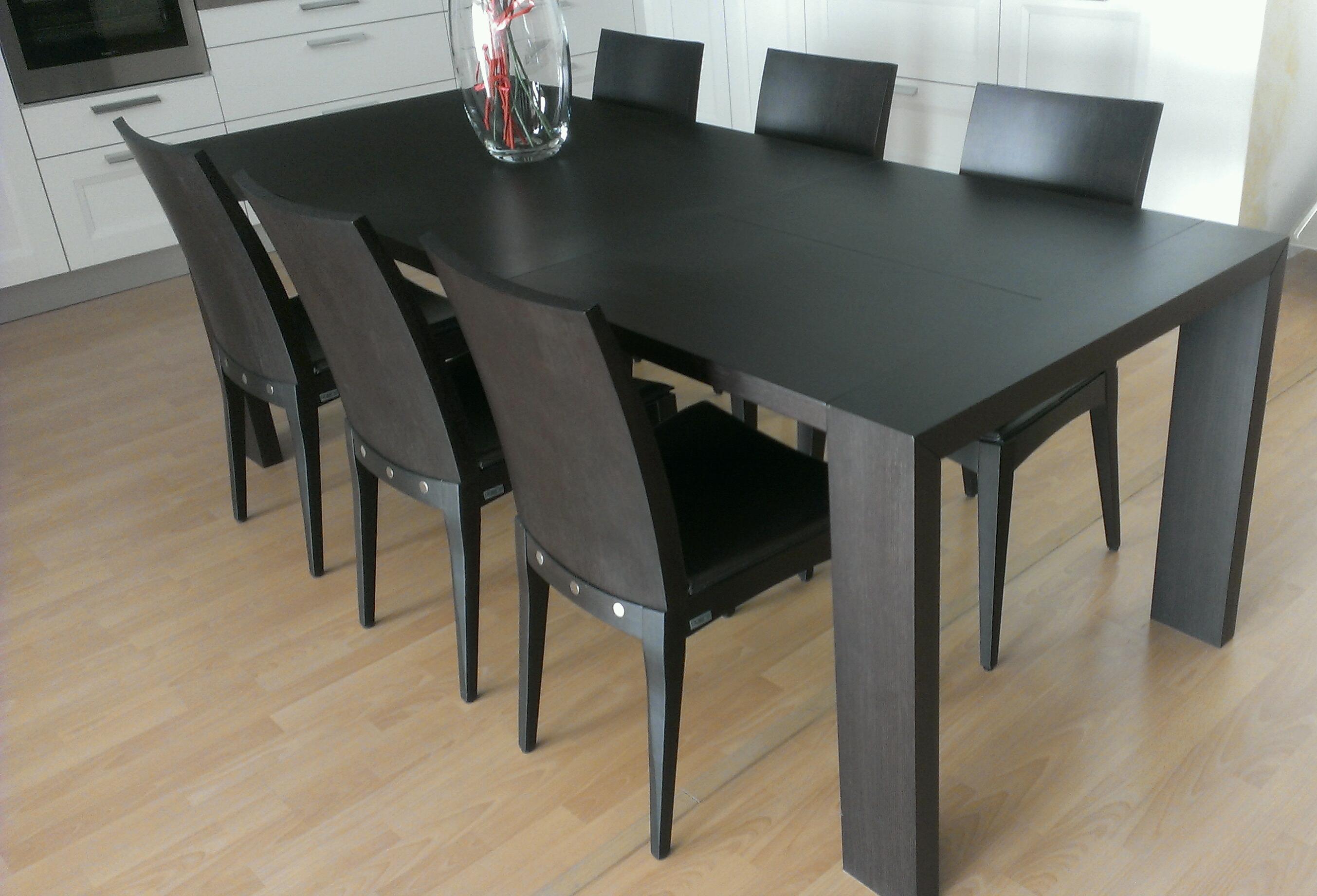 Set 6 sedie in legno rovere seduta in cuoio promozione for Sedie cuoio prezzi