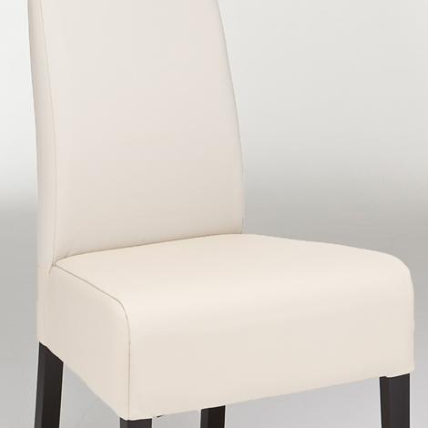 Sedia in legno imbottita in pelle vera bianca o nera Aldo - Sedie a prezzi sc...