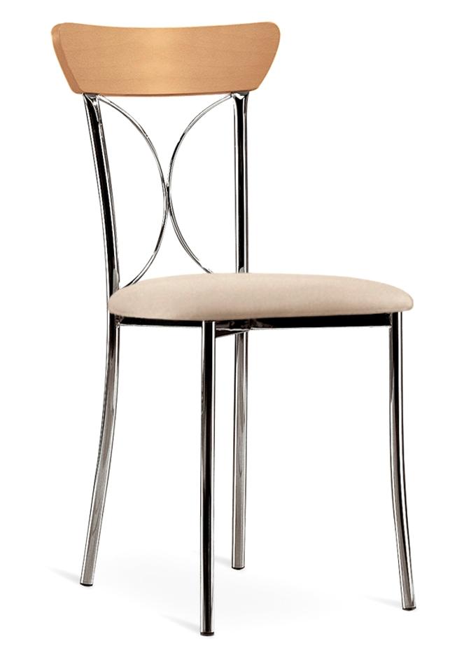 Sedia in metallo, legno e tessuto ecopelle bianco o arena Torino - Sedie a prezzi scontati