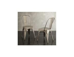 sedia in metallo disponibile in bianco anticato e brunito
