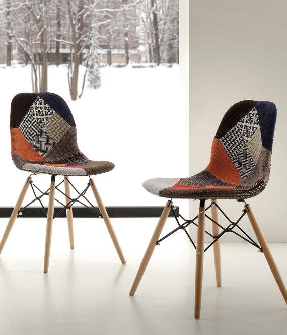 Sedia la seggiola shell patch tessuto design schienale for La sedia nel design
