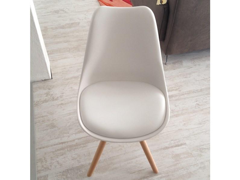 Sedia Lars Bianca con seduta Ecopelle -31%