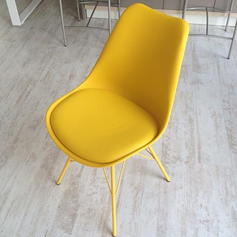 Sedia lars gialla con seduta ecopelle 34 sedie a for Sedia ufficio gialla