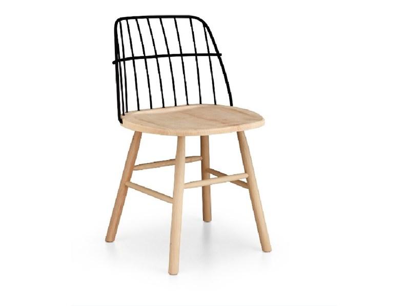 Sedia legno e acciaio italia for Sedie acciaio e legno