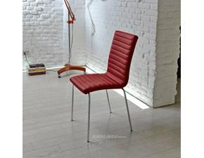 Sedia MIDJ modello Krono. Sedia con struttura in acciaio bianco, alluminio, corda, granite e sedile in ecopelle e tessuto cat. C