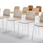 Sedia MIDJ modello Liù S-TS. Sedia con sedile in ecopelle e tessuto cat. C e con struttura in acciaio bianco, alluminio, corda e grafite.