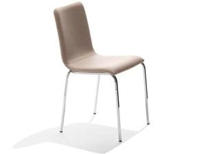 Sedia MIDJ modello Passepartout S-TS. Sedia dal sedile in ecopelle e tessuto cat. C e struttura in acciaio bianco, alluminio.