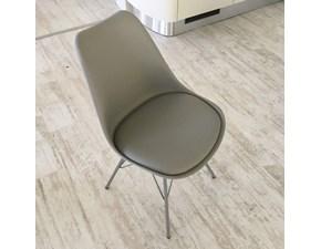 Sedia mod. LARS color Grigio Chiaro con seduta ecopelle