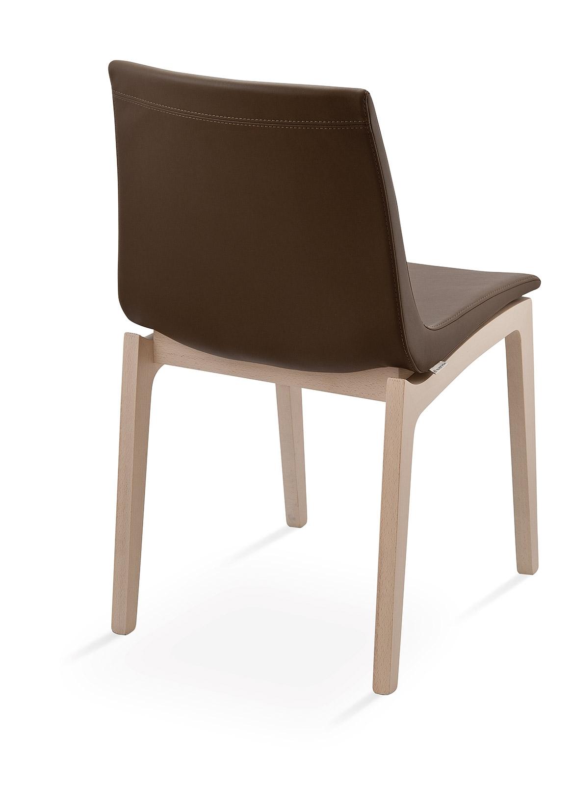 Sedia natisa smart w di design in pelle e legno sedie a for Sedie pelle e legno