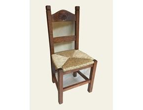 Sedia senza braccioli Art.106 sedia in castagno con intaglio uva serie sl Artigiani veneti a prezzo scontato
