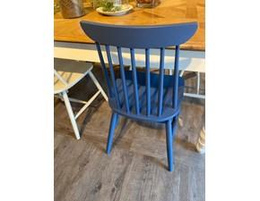 Sedia senza braccioli Sedia color blue jeans Dialma brown a prezzo ribassato
