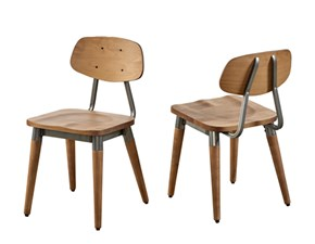 Sedia senza braccioli Set 4 sedie Dialma brown in Offerta Outlet