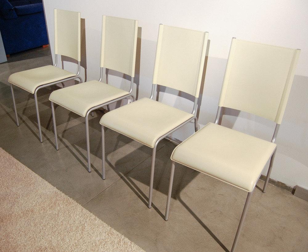 Poltroncina Cuoio Acciaio Raffaella : Sedia cuoio metallo cassina